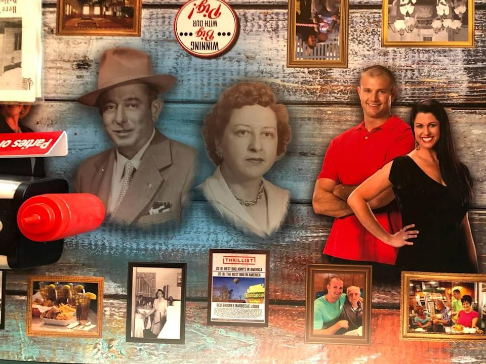 The tables at Bridges Barbecue Lodge in Shelby, NC are decorated with photos of founders Red and Lyttle Bridges Cabaniss, left and third generation owners Chase Webb and his sister Natalie Ramsey.