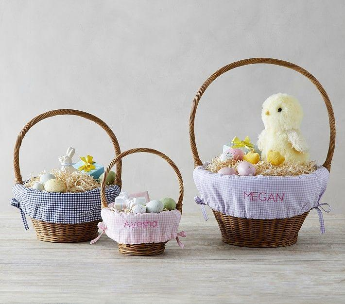 """<p><strong>pottery barn</strong></p><p>potterybarnkids.com</p><p><strong>$10.00</strong></p><p><a href=""""https://go.redirectingat.com?id=74968X1596630&url=https%3A%2F%2Fwww.potterybarnkids.com%2Fproducts%2Fgingham-easter-basket-liner%2F%3Fpkey%3Dceaster-shop-all-baskets&sref=https%3A%2F%2Fwww.thepioneerwoman.com%2Fholidays-celebrations%2Fg35785443%2Fpersonalized-easter-baskets%2F"""" rel=""""nofollow noopener"""" target=""""_blank"""" data-ylk=""""slk:Shop Now"""" class=""""link rapid-noclick-resp"""">Shop Now</a></p><p>These inexpensive gingham liners are such an easy way to personalize any basket. Just slip one onto a basket you already have at home, and watch your kids' faces light up.</p>"""