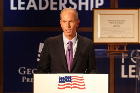 Dennis Muilenburg CEO of the Boeing Company speaks at the George W. Bush Presidential Center's 2019 Forum on Leadership in Dallas
