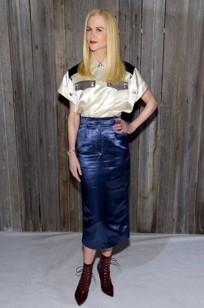 <p>Nicole Kidman attended the Calvin Klein show dressed head-to-toe in the label. <em>[Photo: Getty]</em> </p>