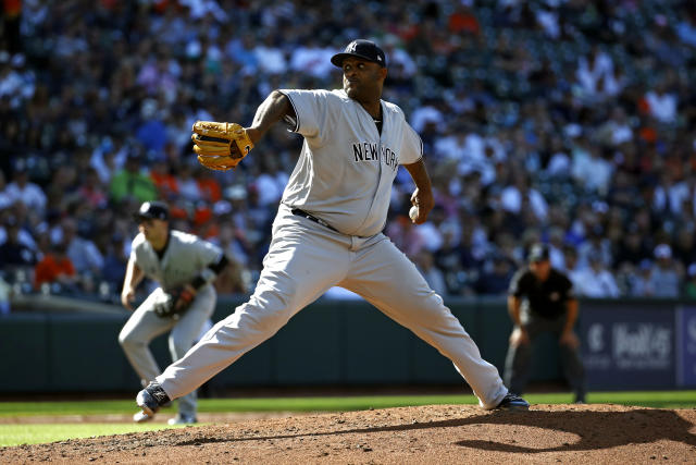 New York Yankees starting pitcher CC Sabathia throws to the Baltimore Orioles in the third inning of the first baseball game of a doubleheader, Monday, July 9, 2018, in Baltimore. (AP Photo/Patrick Semansky)