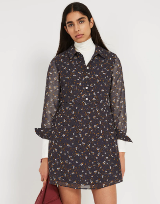 Printed Fit & Flare Dress in Navy
