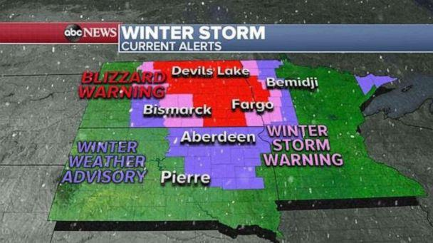 PHOTO: Up to 2 feet of snow has already fallen across parts of the Northern Plains with new snowfall amounts of 3 to 10 inches expected through Saturday night. (ABC News)