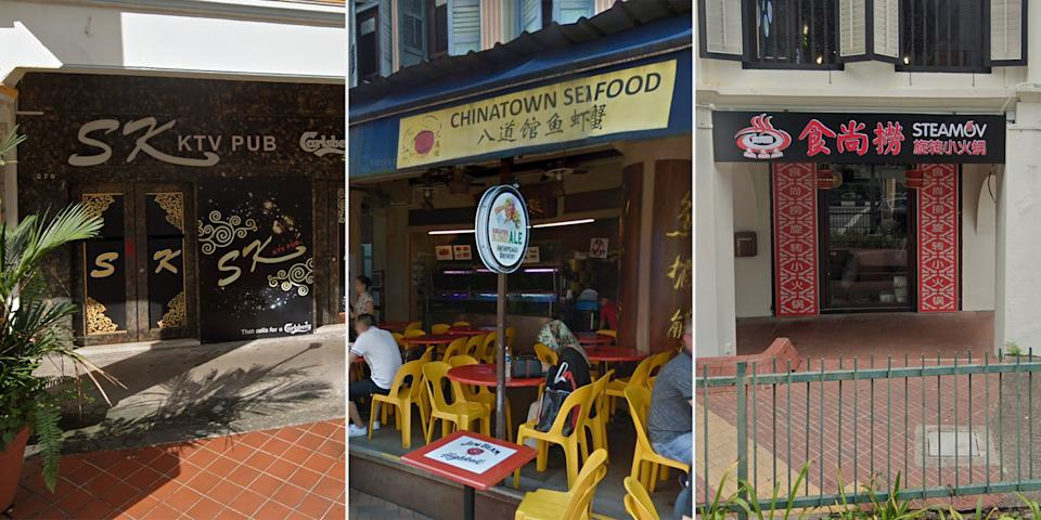 (From left) SK Karaoke Pub, Chinatown Seafood and Steamov were among the nine F&B establishments penalised for breaching current Safe Management Measures. (PHOTOS: Google Street View screengrabs)