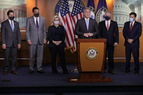 PHOTO: Rep. Mike Johnson, Rep. Richard Hudson, Rep. Liz Cheney, House Minority Leader Kevin McCarthy, Rep. Steve Scalise and Rep. Gary Palmer talk to reporters at the U.S. Capitol on Nov. 17, 2020, in Washington. (Chip Somodevilla/Getty Images, FILE)