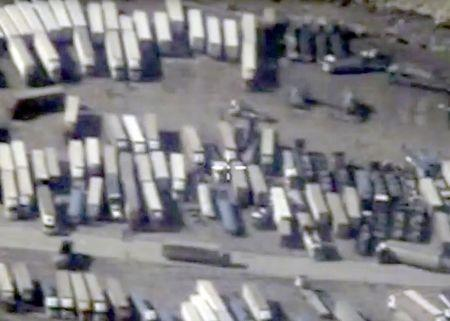 Undated still image taken from video made available by Russian Defence Ministry shows Turkish-Syrian border crossing