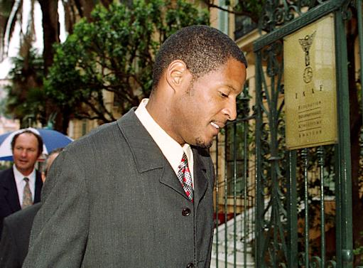 High jump world record holder Cuban Javier Sotomayor arrives at the International Amateur Athletics Federation (IAAF) headquarters in Monaco 07 April 2000, to be questionned by an investigation commission. Sotomayor was suspended after being test positive in July 1999, during the Pan-American games in Winnipeg