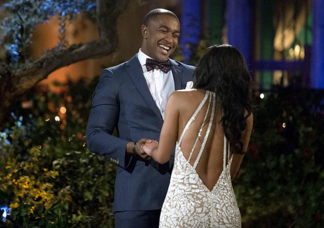 <p>Will and Rachel Lindsay on ABC's <i>The Bachelorette</i>. <br>(Photo: Paul Hebert/ABC) </p>