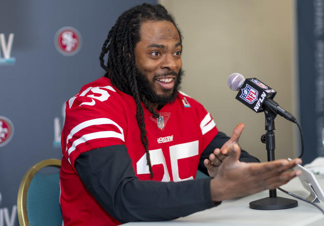 """<a class=""""link rapid-noclick-resp"""" href=""""/nfl/players/24941/"""" data-ylk=""""slk:Richard Sherman"""">Richard Sherman</a> is a natural behind the mic. (Photo by Doug Murray/Icon Sportswire via Getty Images)"""