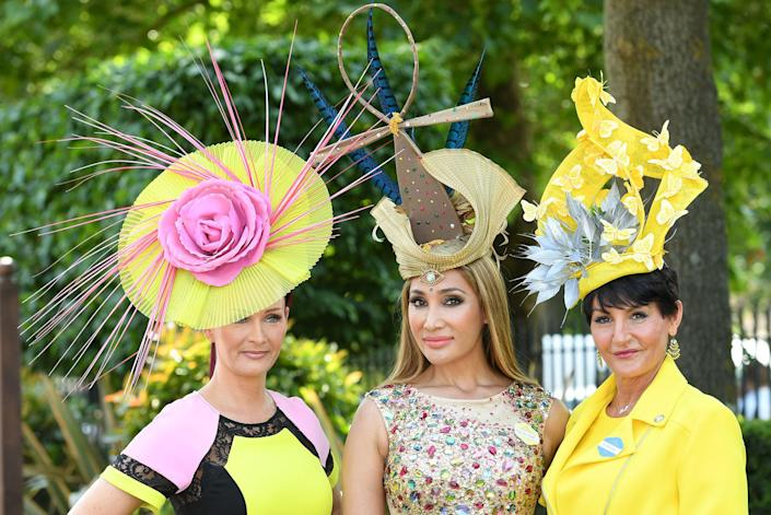 <p>Sofia Hayat (C) attends Royal Ascot 2017 at Ascot Racecourse on June 20, 2017 in Ascot, England. (Karwai Tang/WireImage via Getty Images) </p>