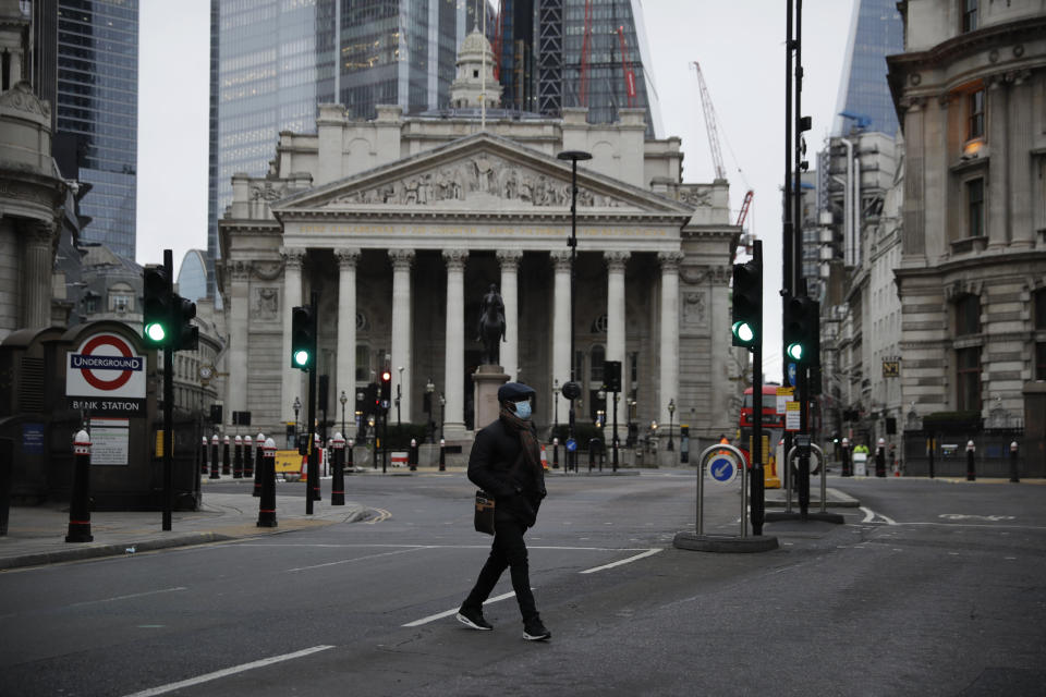 The Royal Exchange in the City of London financial district. Photo: Matt Dunham/AP