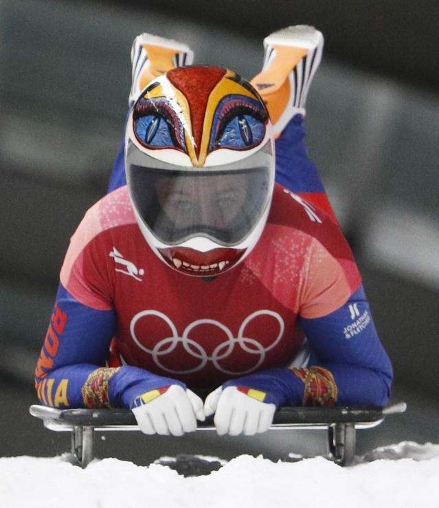 Pyeongchang 2018 Winter Olympics Skeleton - Pyeongchang 2018 Winter Olympics - Women's Finals - Olympic Sliding Centre - Pyeongchang, South Korea - February 17, 2018 - Maria Marinela Mazilu of Romania competes. REUTERS/Edgar Su
