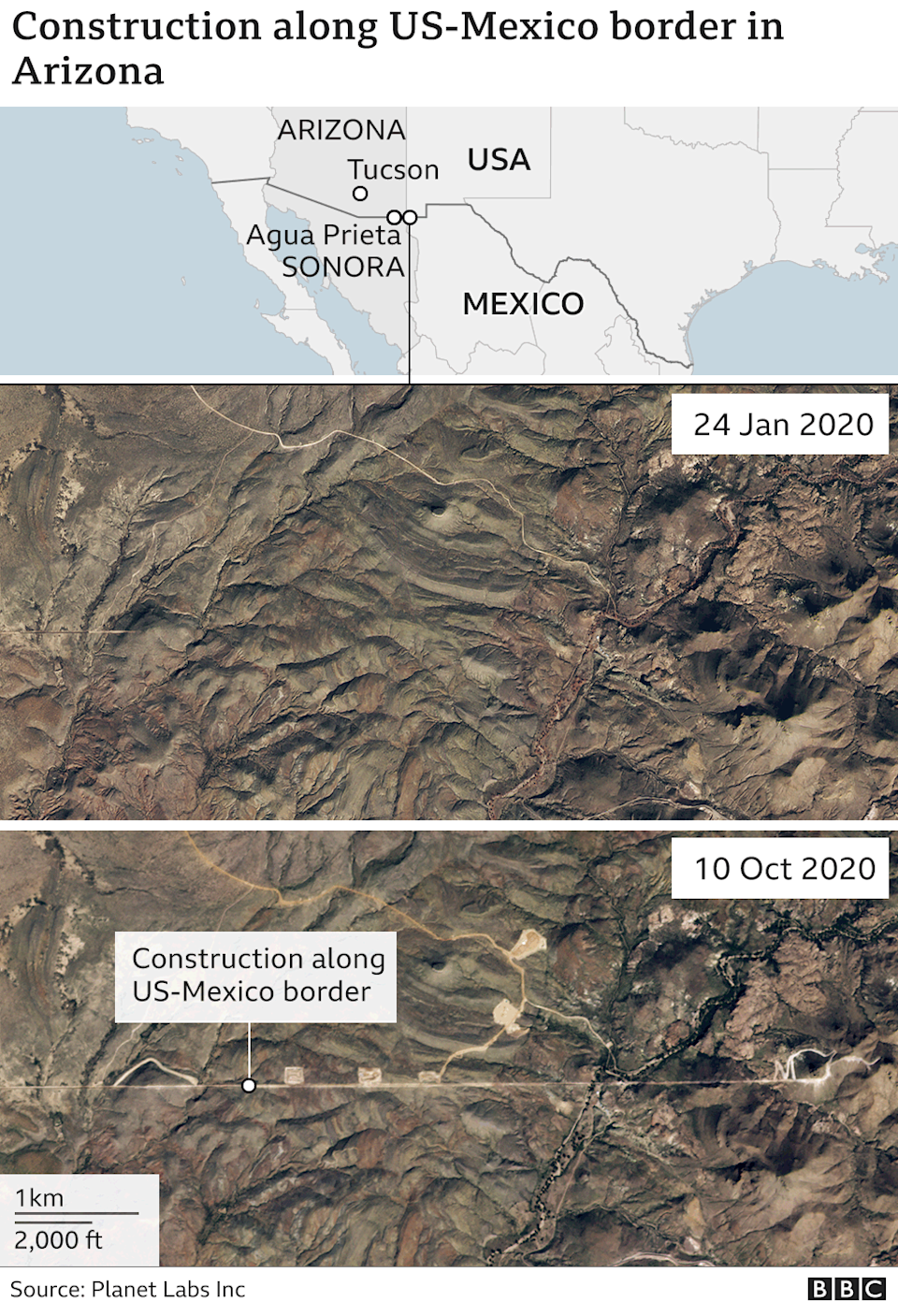 Satellite images show recent construction work along the border