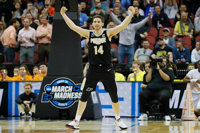 Ryan Cline #14 of the Purdue Boilermakers reacts after a 3-pointer against the Tennessee Volunteers during the second half. (Getty)