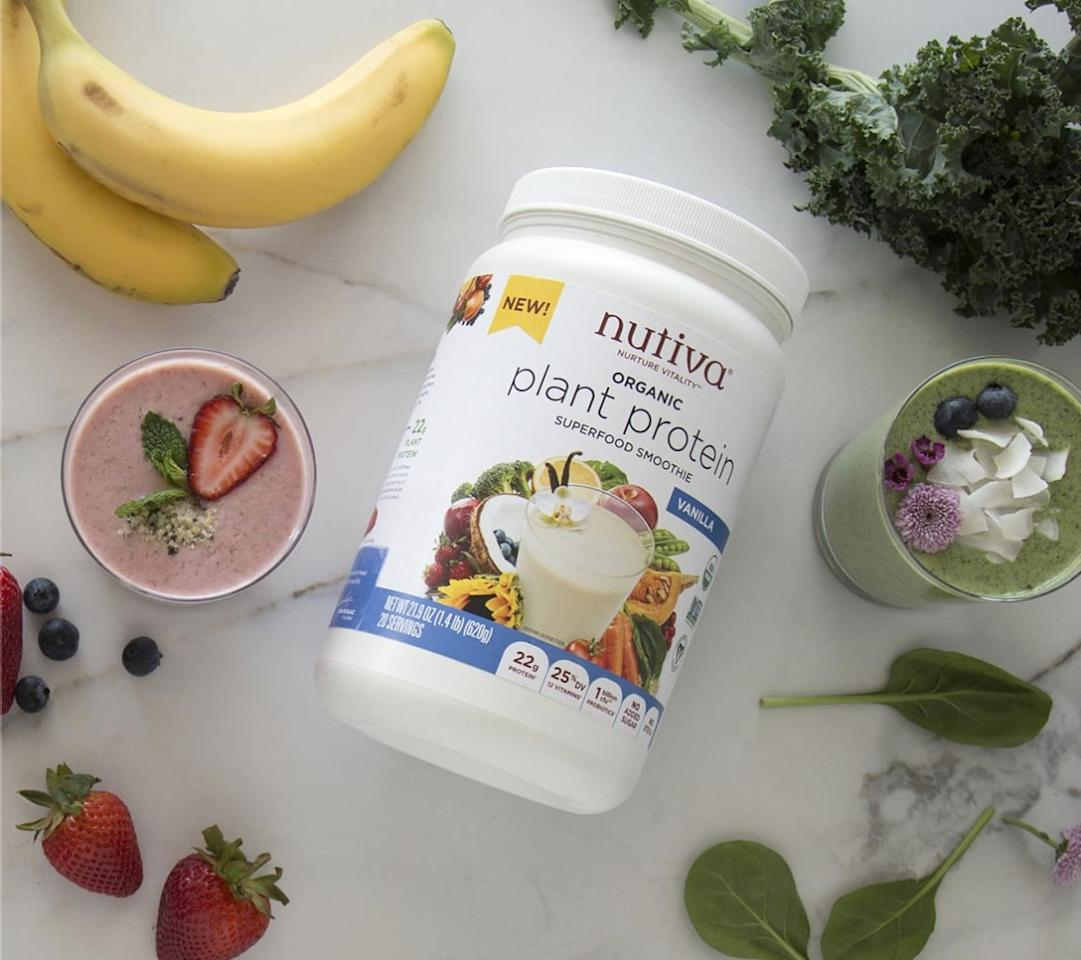 """<p>I never knew how silky smooth a protein powder could be until I had this! The vanilla flavor is subtle, and this protein powder offers the most protein compared to the others. I love using it for smoothies and pancakes.</p> <p><strong><a href=""""https://store.nutiva.com/products/organic-plant-protein-superfood-smoothie?variant=8734994006076"""" target=""""_blank"""" class=""""ga-track"""" data-ga-category=""""Related"""" data-ga-label=""""https://store.nutiva.com/products/organic-plant-protein-superfood-smoothie?variant=8734994006076"""" data-ga-action=""""In-Line Links"""">Ingredients</a>:</strong> organic protein blend (organic pea protein, organic sunflower protein, organic pumpkin protein, organic hemp protein), organic creamer base (organic coconut milk powder, organic inulin, monk fruit extract), organic natural flavors, fruit and vegetable blend (spinach, broccoli, carrot, beet, shitake mushroom, tomato, apple, cranberry, orange, blueberry, strawberry), himalayan sea salt, organic cinnamon, d-alpha-tocopherol (vitamin e), bifidobacterium longum, enzyme blend (protease, amalyse, lipase, cellulase, papain, bromelain)</p> <p><strong>Serving size:</strong> 31 grams<br> <strong>Calories:</strong> 110<br> <strong>Carbs:</strong> 3 grams<br> <strong>Protein:</strong> 22 grams</p>"""