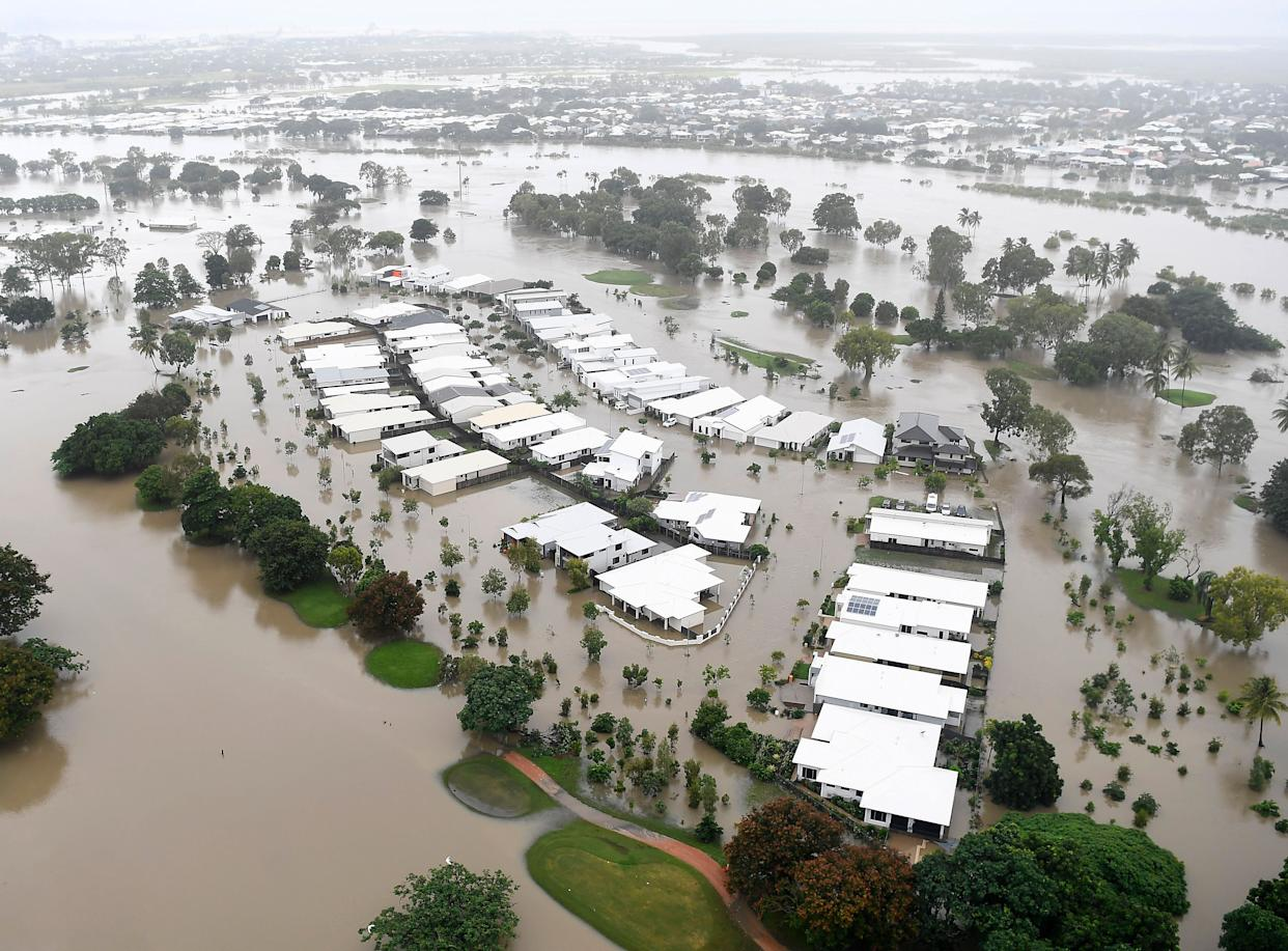 A view of the flooded area of Townsville, Australia, on Feb. 4, 2019, where crocodiles and snakes flowed from rivers into streets and backyards. (Photo: Ian Hitchcock via Getty Images)