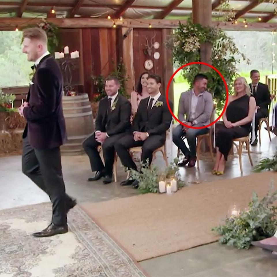 Jason Roses sitting in the audience at Married At First Sight contestant Bryce Ruthven and Melissa's wedding