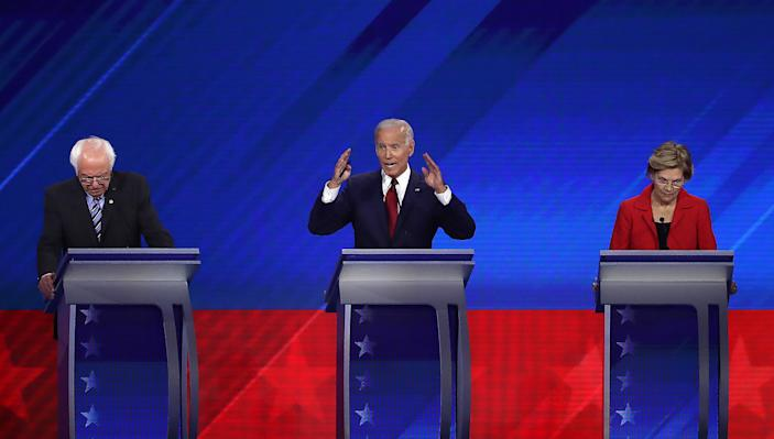 HOUSTON, TEXAS - SEPTEMBER 12: Democratic presidential candidates Sen. Bernie Sanders (I-VT), former Vice President Joe Biden, and Sen. Elizabeth Warren (D-MA) on stage during the Democratic Presidential Debate at Texas Southern University's Health and PE Center on September 12, 2019 in Houston, Texas. Ten Democratic presidential hopefuls were chosen from the larger field of candidates to participate in the debate hosted by ABC News in partnership with Univision. (Photo by Win McNamee/Getty Images)