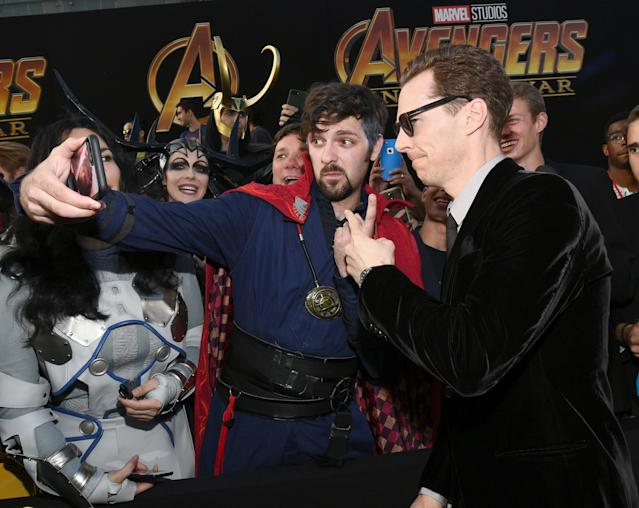 Benedict Cumberbatch indulges a fan. (Getty Images)