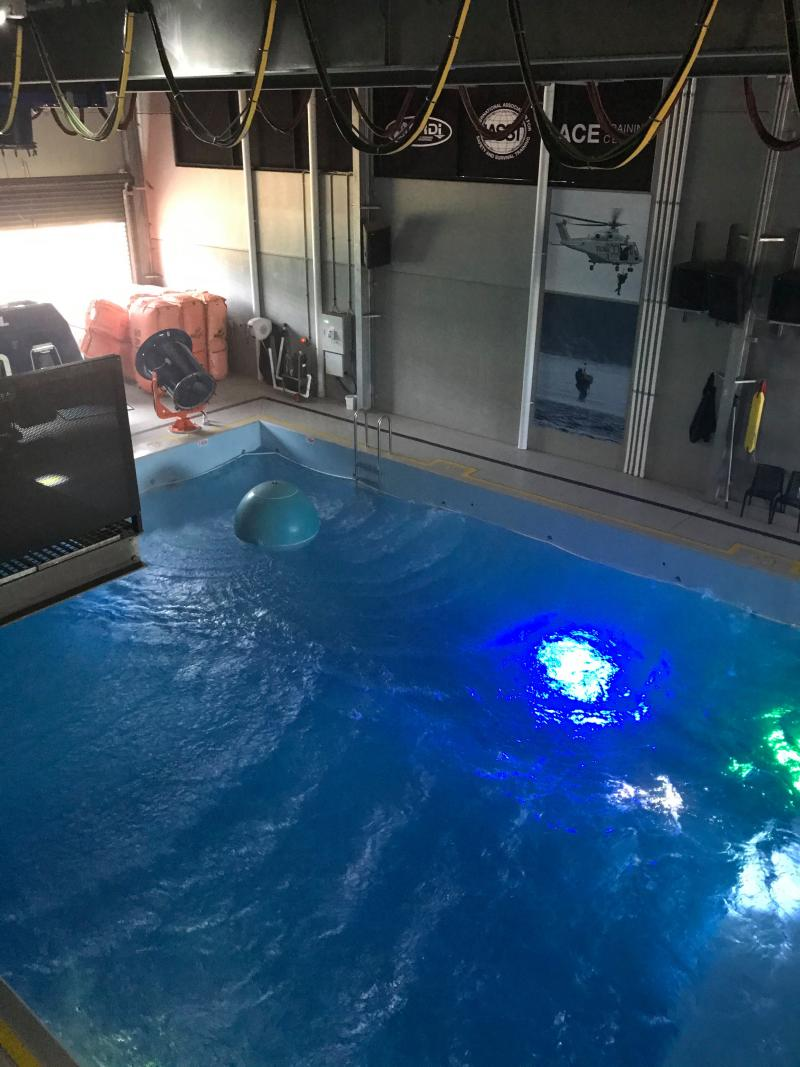Pictured is the pool in the underwater theatre where Toll rescue staff train. Source: Toll