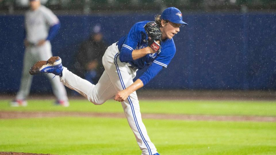 BUFFALO, NY - JULY 16: Toronto Blue Jays Pitcher Ryan Borucki (56) delivers a pitch during the eighth inning of a Major League Baseball game between the Texas Rangers and the Toronto Blue Jays on July 16, 2021, at Sahlen Field in Buffalo, NY. (Photo by Gregory Fisher/Icon Sportswire via Getty Images)