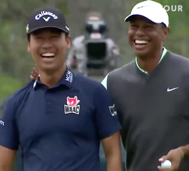 Players Championship 2019: Tiger Woods playfully mocks Kevin Na on 17, both get a huge kick out of it