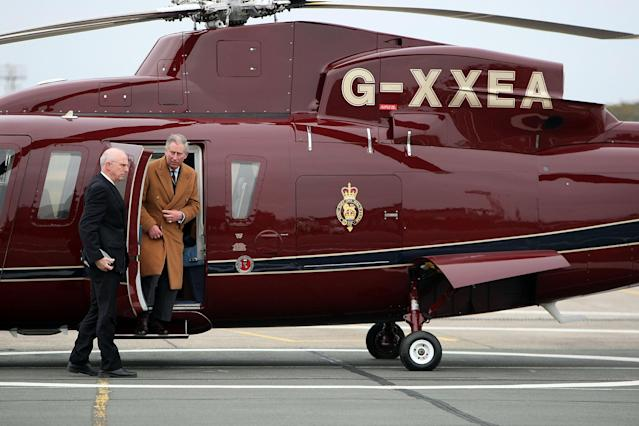 The Prince of Wales arrives at RAF Valley on the Queens Helicopter Flight during the Prince's visit to RAF Valley in Holyhead, Wales.