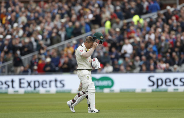 But Warner was dismissed after less than an over in the middle. (AP Photo/Rui Vieira)