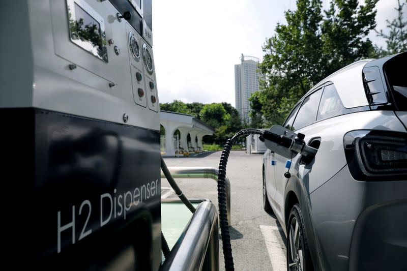 FILE PHOTO: A Hyundai Motor's Nexo hydrogen car is fuelled at a hydrogen station in Seoul