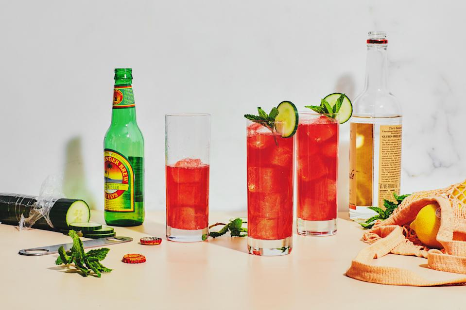 "This easy, gingery cocktail can be made with gin or vodka. No blackberries on hand? Sub in any fresh or frozen berries. The <a href=""https://www.epicurious.com/recipes-menus/12-refreshing-ways-to-eat-cucumbers-gallery?mbid=synd_yahoo_rss"" rel=""nofollow noopener"" target=""_blank"" data-ylk=""slk:cucumber"" class=""link rapid-noclick-resp"">cucumber</a> adds a cooling note that's ideal for hot days. <a href=""https://www.epicurious.com/recipes/food/views/vodka-blackberry-cucumber-mint-mule-cocktail?mbid=synd_yahoo_rss"" rel=""nofollow noopener"" target=""_blank"" data-ylk=""slk:See recipe."" class=""link rapid-noclick-resp"">See recipe.</a>"
