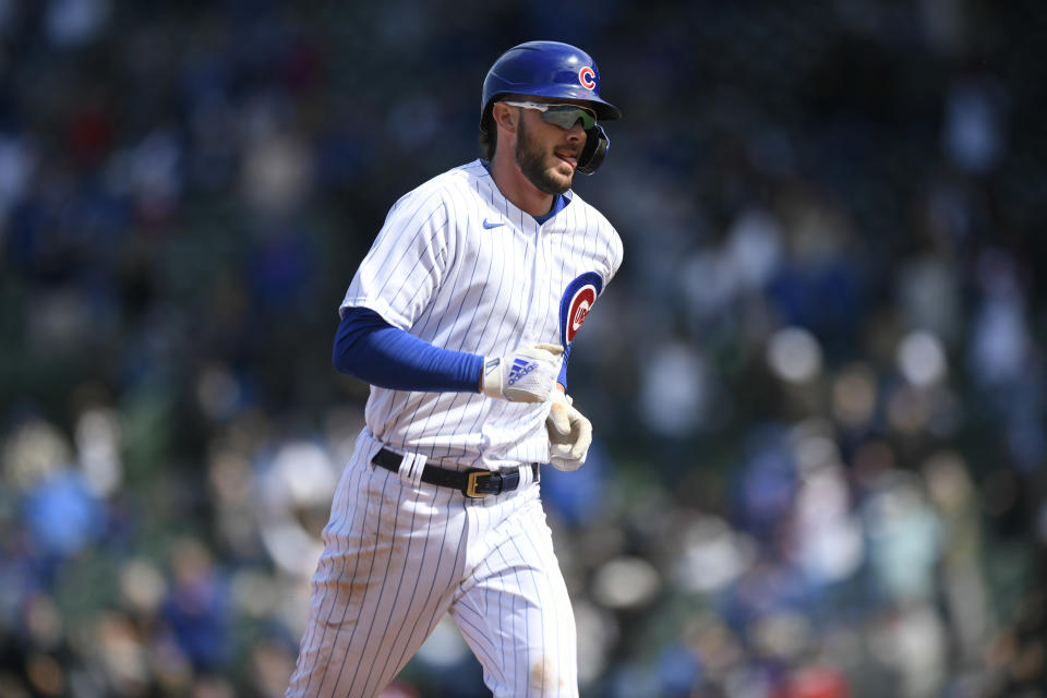 Chicago Cubs Kris Bryant rounds the bases after hitting a two-run home run during the fifth inning of a baseball game against the Atlanta Braves Saturday, April 17, 2021, in Chicago. (AP Photo/Paul Beaty)