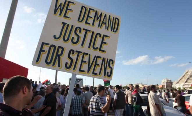 Libyan men protest in Benghazi shortly after the attack that killed U.S. Ambassador Chris Stevens and three other Americans.