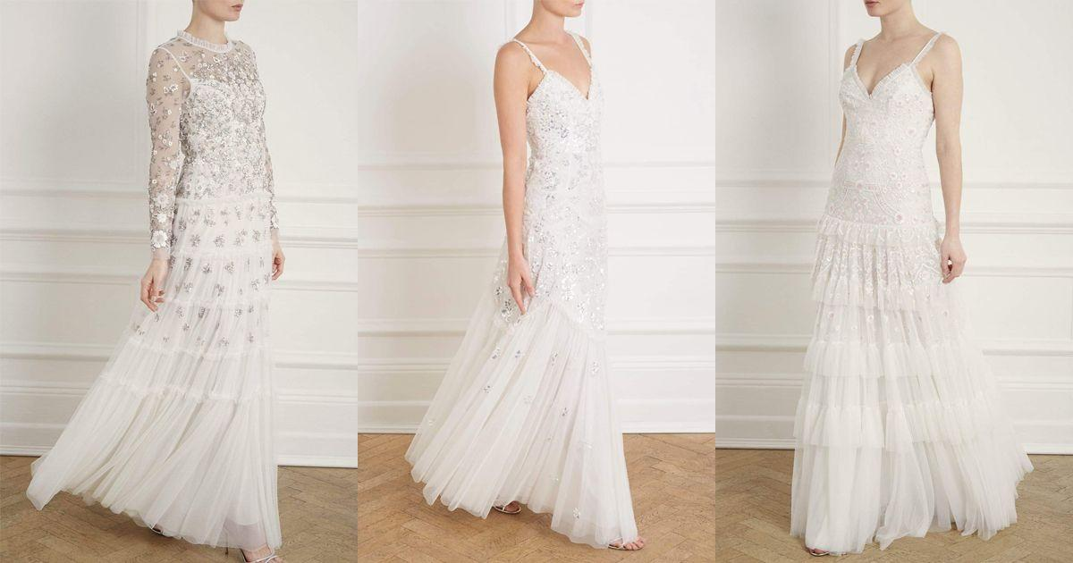 "<p>The beyond-dreamy dresses that <a href=""http://www.needleandthread.com/uk/all-bridalwear/dresses/sort-by/price/sort-direction/desc"" target=""_blank"">Needle & Thread</a> lovingly create every season are so worthy of wedding day material they make us want to get married on the spot. The latest collection makes us want to type the heart-eye emoji over and over again - and they even have veils and a cape. Obsessed.</p><p>(L) Fallen petals long sleeve bridal gown, £859 <a class=""body-btn-link"" href=""https://go.redirectingat.com?id=127X1599956&url=https%3A%2F%2Fwww.needleandthread.com%2Fcollections%2Fbridal%2Fproducts%2Ffallen-petals-long-sleeve-bridal-gown-ivory&sref=http%3A%2F%2Fwww.cosmopolitan.com%2Fuk%2Ffashion%2Fstyle%2Fg4924%2Fhigh-street-brands-that-sell-wedding-dresses%2F"" target=""_blank"">BUY NOW</a></p><p>(M) Tiered gloss bridal gown, £725 <a class=""body-btn-link"" href=""https://go.redirectingat.com?id=127X1599956&url=https%3A%2F%2Fwww.needleandthread.com%2Fcollections%2Fbridal%2Fproducts%2Ftiered-gloss-cami-gown-ivory&sref=http%3A%2F%2Fwww.cosmopolitan.com%2Fuk%2Ffashion%2Fstyle%2Fg4924%2Fhigh-street-brands-that-sell-wedding-dresses%2F"" target=""_blank"">BUY NOW</a></p><p>(R) Gracie cami bridal gown, £800 <a class=""body-btn-link"" href=""https://go.redirectingat.com?id=127X1599956&url=https%3A%2F%2Fwww.needleandthread.com%2Fcollections%2Fbridal%2Fproducts%2Fgracie-cami-bridal-gown-ivory&sref=http%3A%2F%2Fwww.cosmopolitan.com%2Fuk%2Ffashion%2Fstyle%2Fg4924%2Fhigh-street-brands-that-sell-wedding-dresses%2F"" target=""_blank"">BUY NOW</a> </p>"
