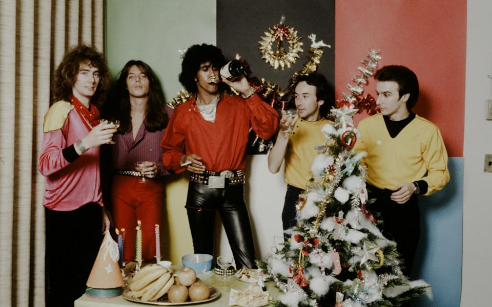 Thin Lizzy at a Christmas party in 1980 - Hulton Archive