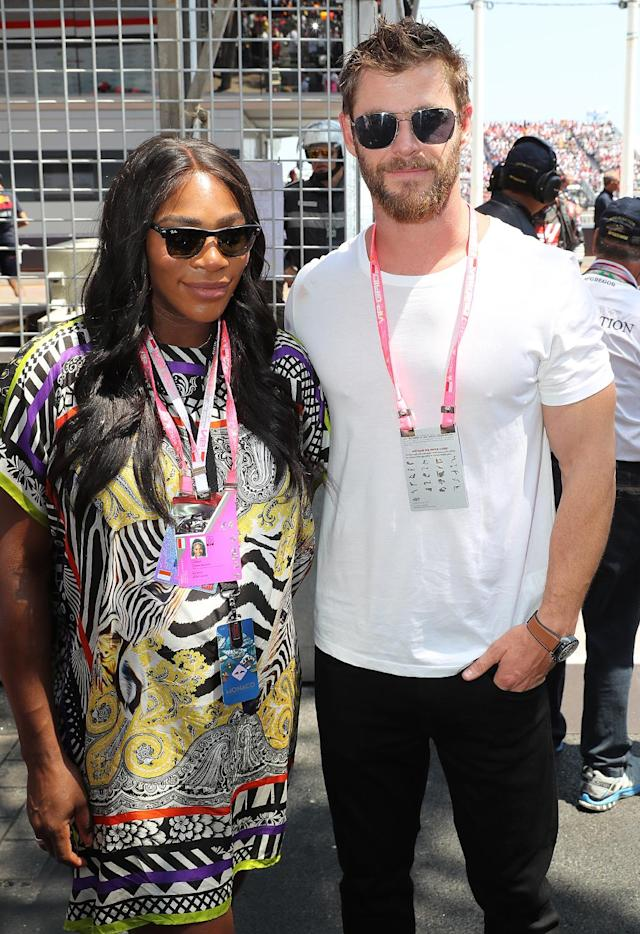 <p>No offense to the tennis star's fiancé Alexis Ohanion, but she was pretty stoked to meet Hemsworth (aka Thor) at the Monaco Grand Prix. We imagine he was excited to meet her too! (Photo: Headlinephoto/Splash News) </p>