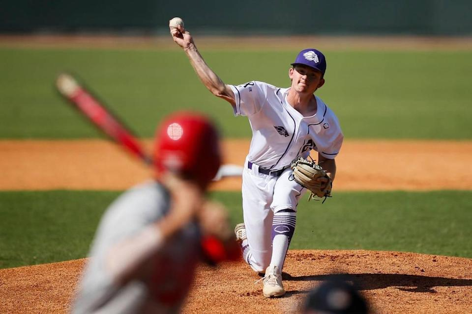 Lyon County's Austin Long pitched a complete game Thursday, allowing four hits, two runs and one walk while striking out eight.