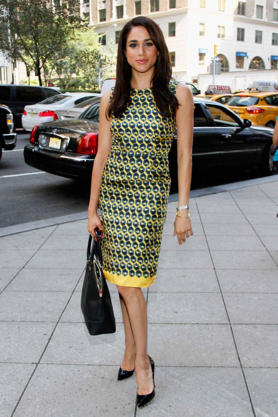 <p>Markle attends the Annual Charity Day hosted by Cantor Fitzgerald and BGC at the Cantor Fitzgerald office in New York City.</p>