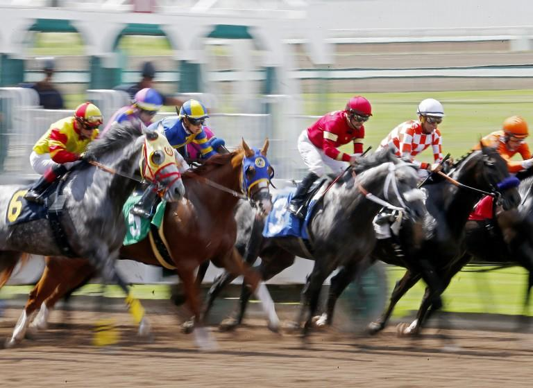 LOS ALAMITOS, CALIF. - JUNE 29, 2019. Horses and jockeys charge out of the starting gate during the sixth race.
