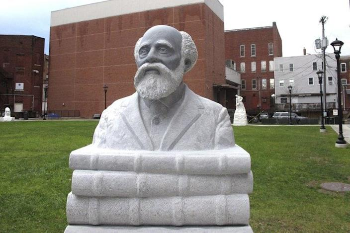 A sculpture of Martin Henry Freeman, the first Black American College president, is on display in his home city of Rutland, Vt., on Monday, Nov. 23, 2020. (AP Photo/Lisa Rathke)