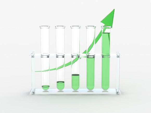 Test tubes with increasing levels of green liquid and a green arrow curving upwards behind them.