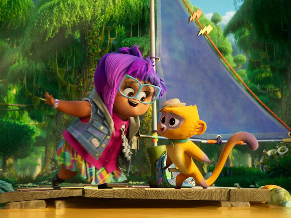 Vivo (Lin-Manuel Miranda), a kinkajou tasked with delivering a ballad from Cuba to Miami, teams up with a young, purple-haired girl (Ynairaly Simo) (Sony Pictures Animation)