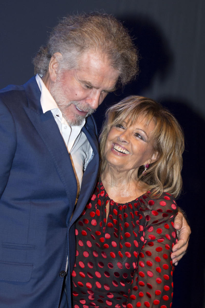 MALAGA, SPAIN - SEPTEMBER 26: Bigote Arrocet and Maria Teresa Campos attend the appointment of Dani Rovira and Maria Teresa Campos as favorite and adopted sons of Malaga of Malaga on September 26, 2017 in Malaga, Spain. (Photo by Daniel Perez Garcia-Santos/WireImage)