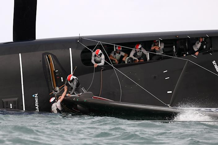 All crew were safely accounted for after American Magic's spectacular capsize during their Prada Cup race