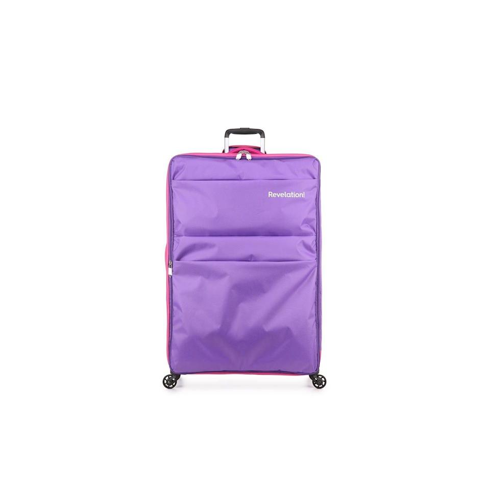 """<p><a class=""""link rapid-noclick-resp"""" href=""""https://www.revelationlondon.com/leap-large-suitcase-purple"""" rel=""""nofollow noopener"""" target=""""_blank"""" data-ylk=""""slk:BUY NOW"""">BUY NOW</a> <strong>Was £85, now £67.99</strong></p><p>For a large suitcase under £100, look no further than Revelation's bright 79cm case that claims to be the lightest in the world at 2.2kg. Inside, there's plenty of space to pack all your holiday essentials as the case has been specially designed to maximise baggage allowances.</p>"""