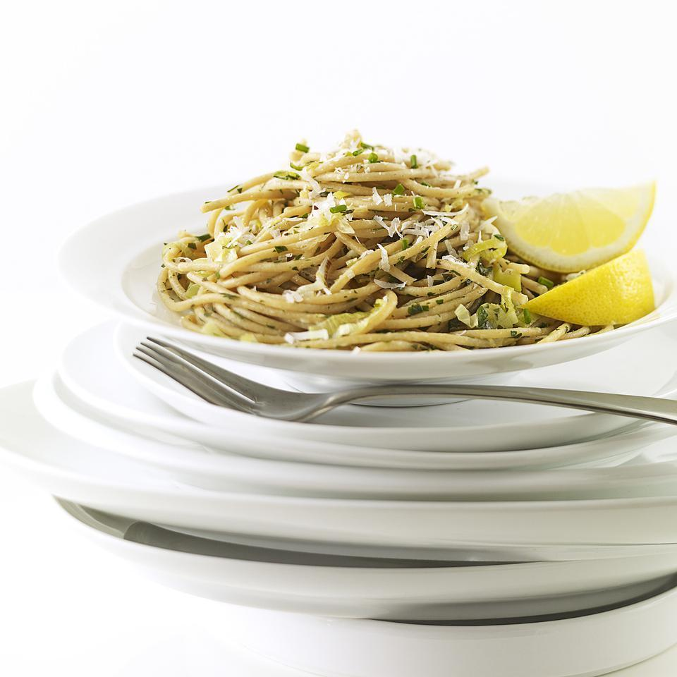 "<p>This simple pasta recipe has bold lemony flavor. It's nice with a salad for a light supper or serve it along with seared fish, shrimp or chicken. Vary it as you please--add a bit of crumbled goat cheese, chopped rinsed capers, shelled edamame or thin strips of yellow bell pepper. <a href=""http://www.eatingwell.com/recipe/252505/leek-lemon-linguine/"" rel=""nofollow noopener"" target=""_blank"" data-ylk=""slk:View recipe"" class=""link rapid-noclick-resp""> View recipe </a></p>"
