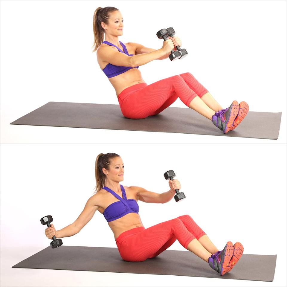 <p>In this variation, the abs work extra hard to maintain stability as you pull the dumbbell away from your center.</p> <ul> <li>Begin sitting with your heels planted about two feet from your butt, holding the weights at chest level with a slight bend in your elbows. Lean back a few inches, pulling your abs toward your spine.</li> <li>With your left arm remaining still, open your right arm to the side, making sure the weight doesn't go beyond your shoulder. </li> <li>Bring your right arm back to center to complete one rep.</li> <li>Switch sides, and do the same number of reps on each side.</li> </ul>