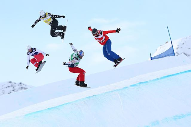 <p>VAL THORENS, FRANCE – DECEMBER 13: Pierre Vaultier of France competes, Christian Ruud Myhre of Norway competes, Jake Vedder of USA competes, Alessandro Haemmerle of Austria competes during the FIS Freestyle Ski World Cup, Men's and Women's Ski Snowboardcross. (Getty Images) </p>