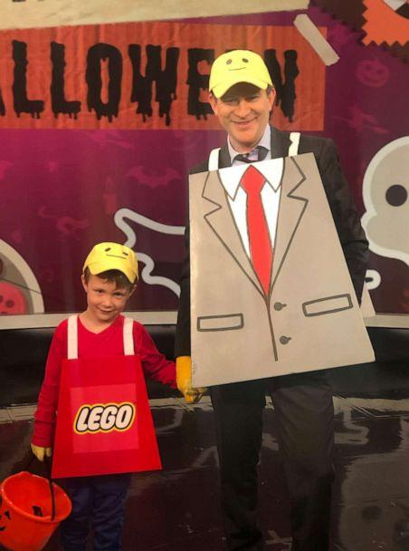 PHOTO: Dan Harris and his son sport the 'Lego Man' costume for Halloween. (ABC)