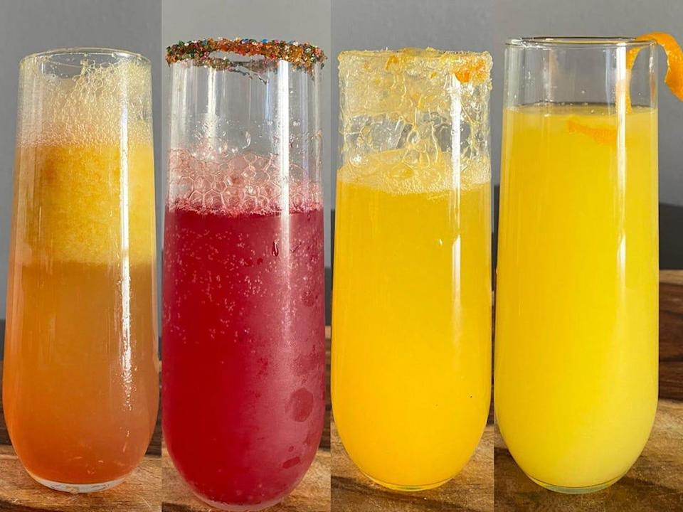 Four different mimosas from celebrity chefs