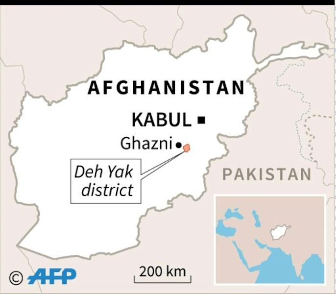 Map of Afghanistan locating the site of a US military plane crash in Ghazni province